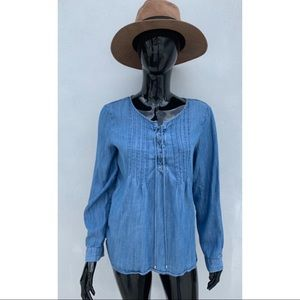 Talbots Long Sleeve Chambray Top Size M